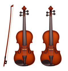 Realistic brown violin with fiddlestick vector