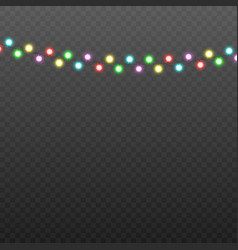 realistic colorful christmas lights garland with vector image