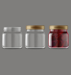 realistic detailed 3d strawberry jam glass jar set vector image