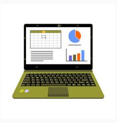realistic laptop display company or scientific vector image