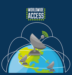 satellite over world connectivity concept vector image