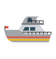Ship sideview with flag icon image vector