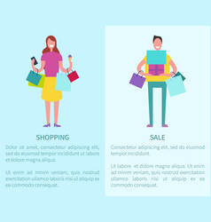 shopping and sale two posters vector image