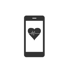 smartphone with heart rate monitor function icon vector image