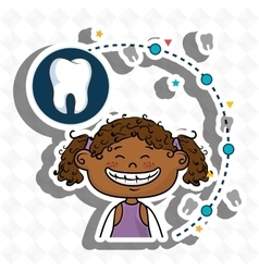 Smiling black girl dental care white tooth vector