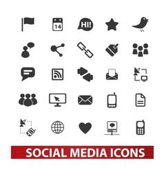 social media icons set vector image vector image