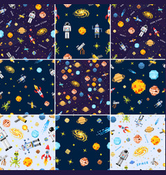 space seamless pattern set background alien vector image