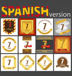 Spanish set number 7 templates vector