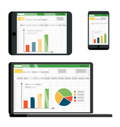 spreadsheet table on tablet smartphone vector image