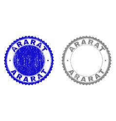 Textured ararat scratched stamp seals vector