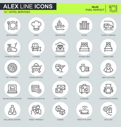Thin line hotel services icons set vector