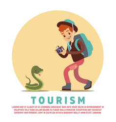 Tourism male tourist and snake vector