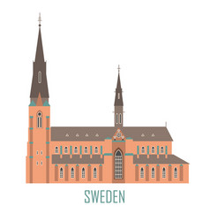 uppsala cathedral in sweden vector image