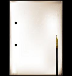 vintage frame and golden pen vector image