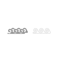 water wave grey set icon vector image