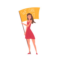 we can do it young woman holding waving flag vector image