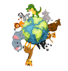 Wild animal standing around the world vector