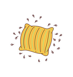 Yellow striped pillow doodle with feather stuffing vector