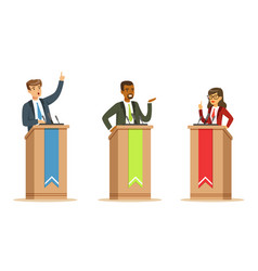 young politician male and female speakers behind vector image