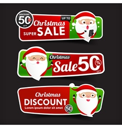 028 Collection of Christmas Sale red and green web vector image vector image