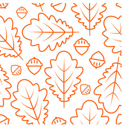 autumn seamless pattern with oak leaves and acorns vector image vector image