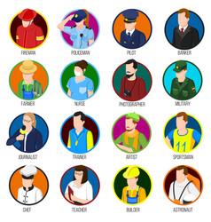 avatar professions icon set vector image