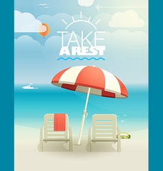 Beach landcape with chairs and umbrella vector