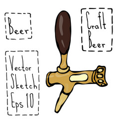 beer tap doodle style sketch hand drawn vector image vector image