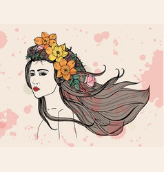 fashion woman portrait with watercolor stains vector image vector image