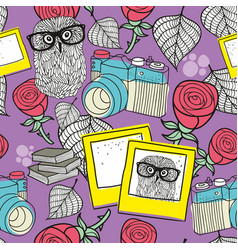 love story seamless pattern with smart owls and vector image