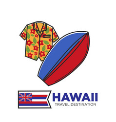 hawaii travel destination promotional poster with vector image