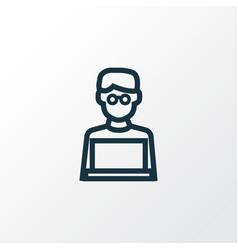 Man with laptop outline symbol premium quality vector