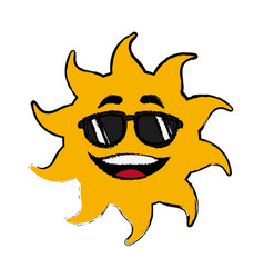 sun cartoon sunglasses mascot character vector image