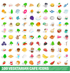 100 vegetarian cafe icons set isometric 3d style vector image vector image
