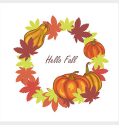autumn leaves and pumpkins vector image