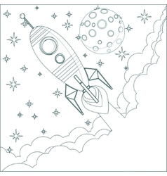 Cartoon Rocket moon in sky with space for text vector image