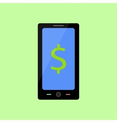 Flat style smart phone with dollar vector