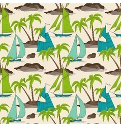 Palm trees island and boats pattern summer vector image vector image