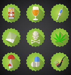 Bad Habits Flat Icon Set Include beer alcohol vector image