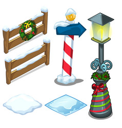 fence lamp street sign decorated for christmas vector image