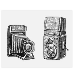 photo camera set vintage engraved hand drawn in vector image vector image