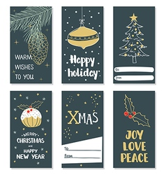 Set of hand draw Christmas cards vector image vector image