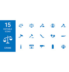 15 crime icons vector