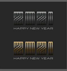 2021 logo number metallic font and text happy new vector image