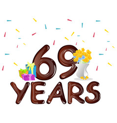 69 th birthday celebration greeting card vector image