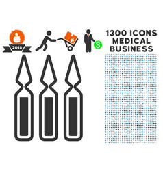 Ampoules icon with 1300 medical business icons vector