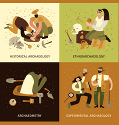 Archeology concept icons set vector