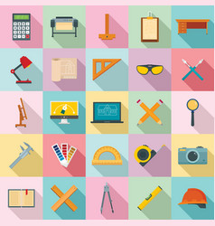 architect equipment icons set flat style vector image