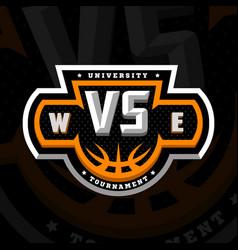basketball vs sports logo emblem on a dark vector image