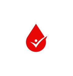 blood sauce drop human check logo icon sign vector image
